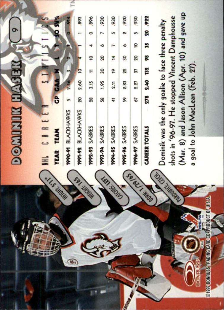 1997-98 Donruss #9 Dominik Hasek back image