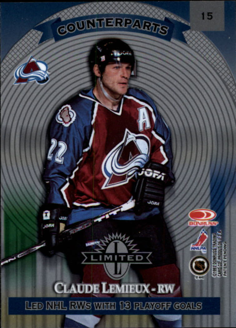 1997-98 Donruss Limited #15 John LeClair/Claude Lemieux C back image