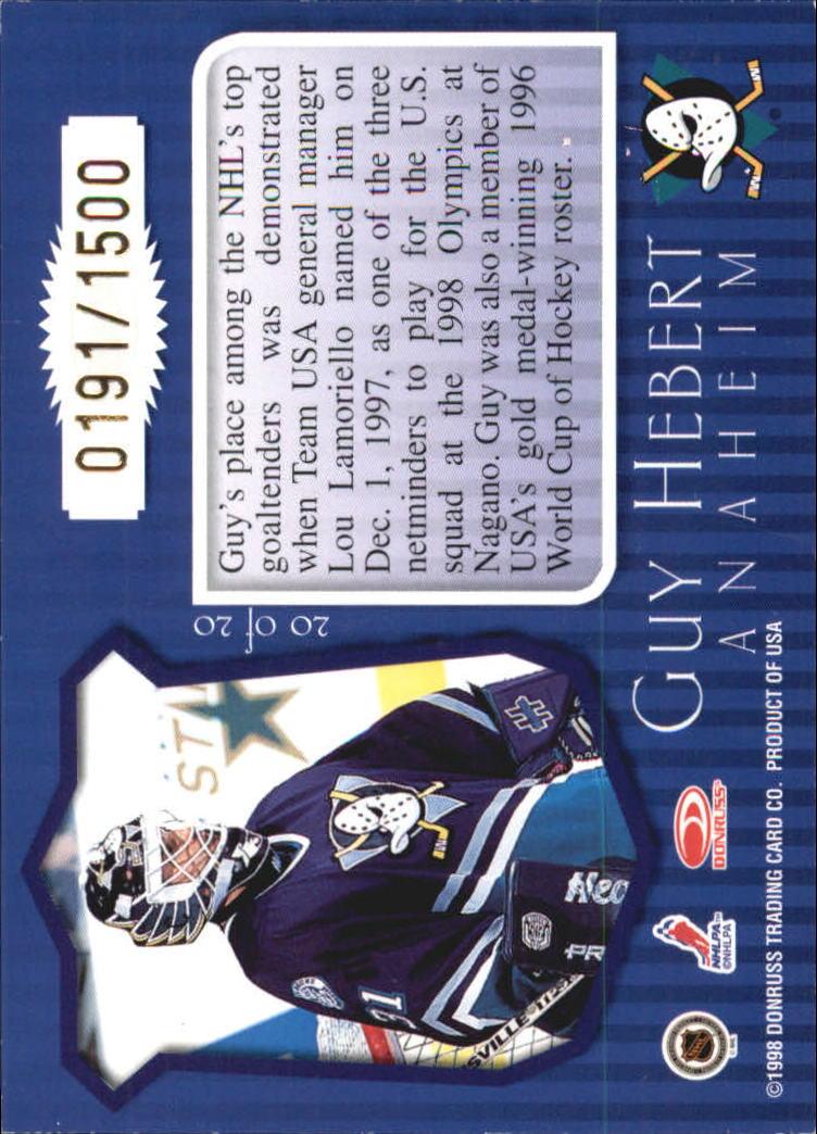 1997-98 Donruss Priority Postmaster Generals #20 Guy Hebert back image