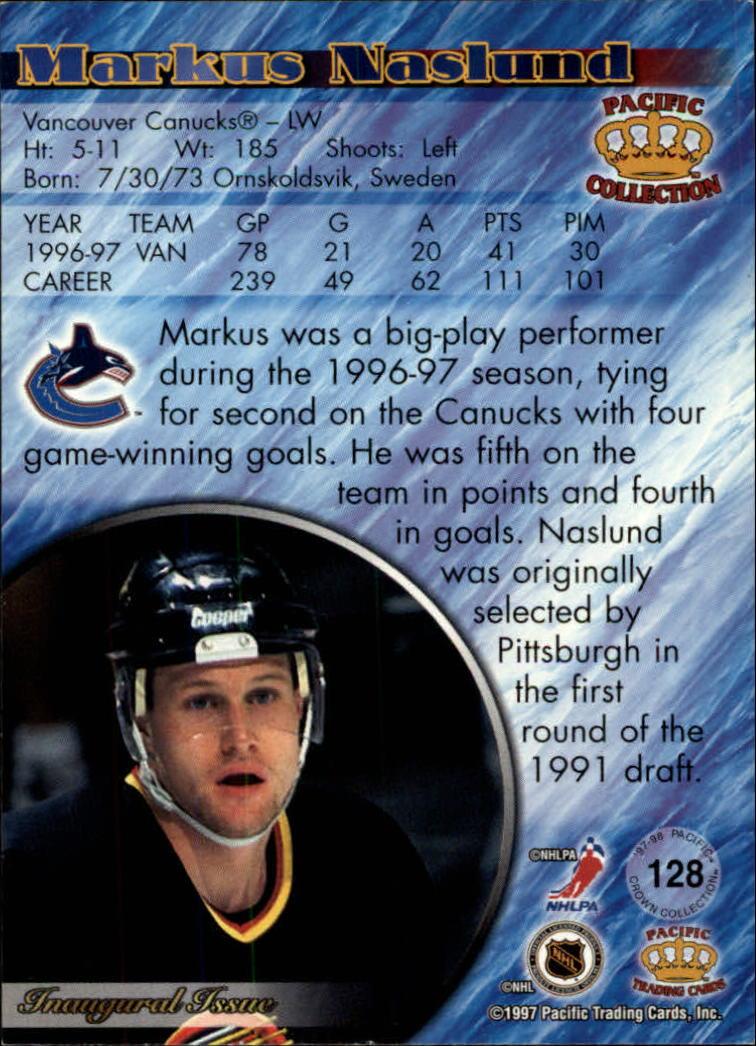 1997-98 Pacific #128 Markus Naslund back image