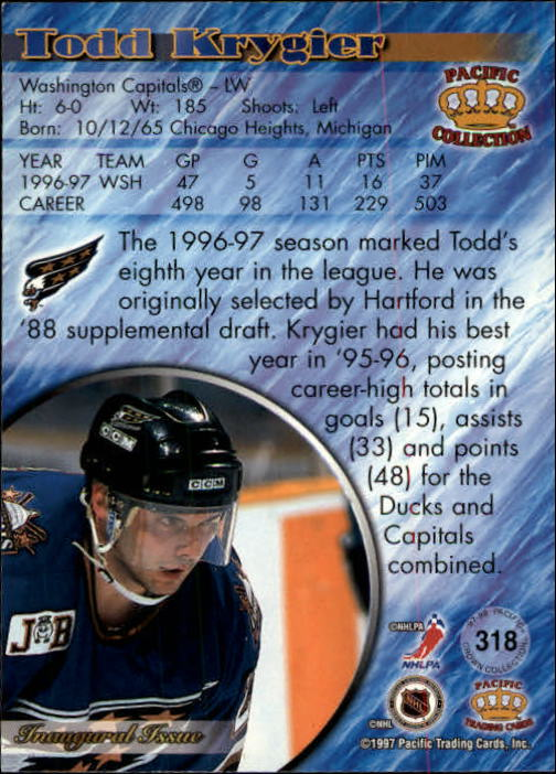 1997-98 Pacific Copper #318 Todd Krygier back image