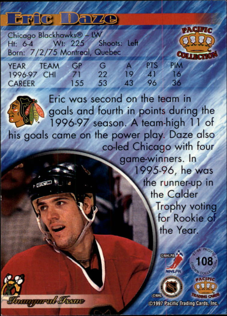 1997-98 Pacific Red #108 Eric Daze back image