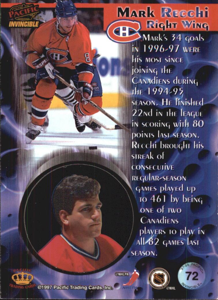 1997-98 Pacific Invincible #72 Mark Recchi back image