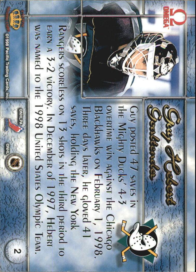 1997-98 Pacific Omega Dark Gray #2 Guy Hebert back image
