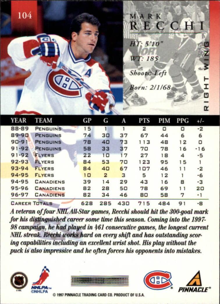 1997-98 Pinnacle #104 Mark Recchi back image