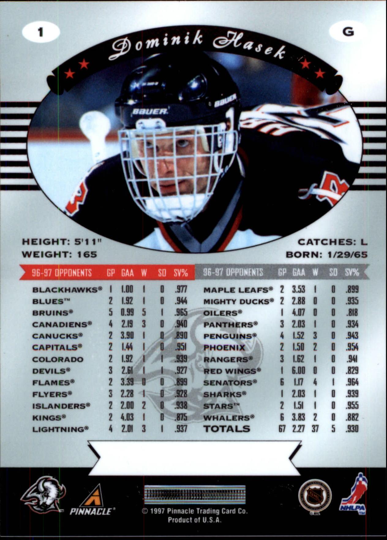 1997-98 Pinnacle Certified #1 Dominik Hasek back image