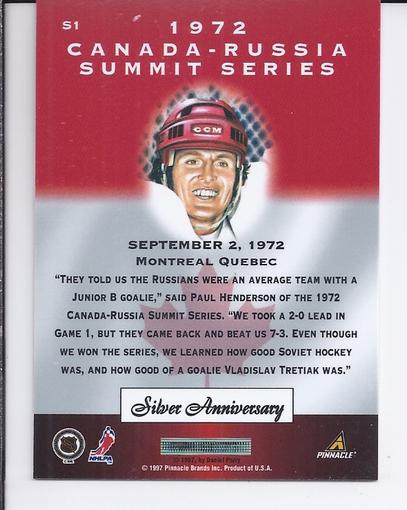 1997-98 Pinnacle Certified Summit Silver #S1 Paul Henderson back image