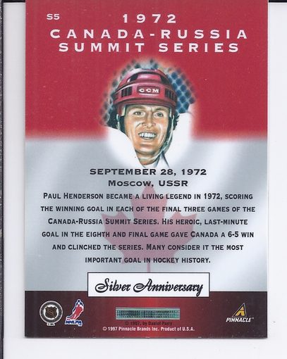 1997-98 Pinnacle Certified Summit Silver #S5 Paul Henderson back image