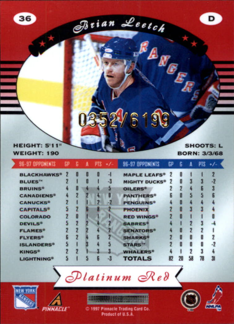 1997-98 Pinnacle Totally Certified Platinum Red #36 Brian Leetch back image