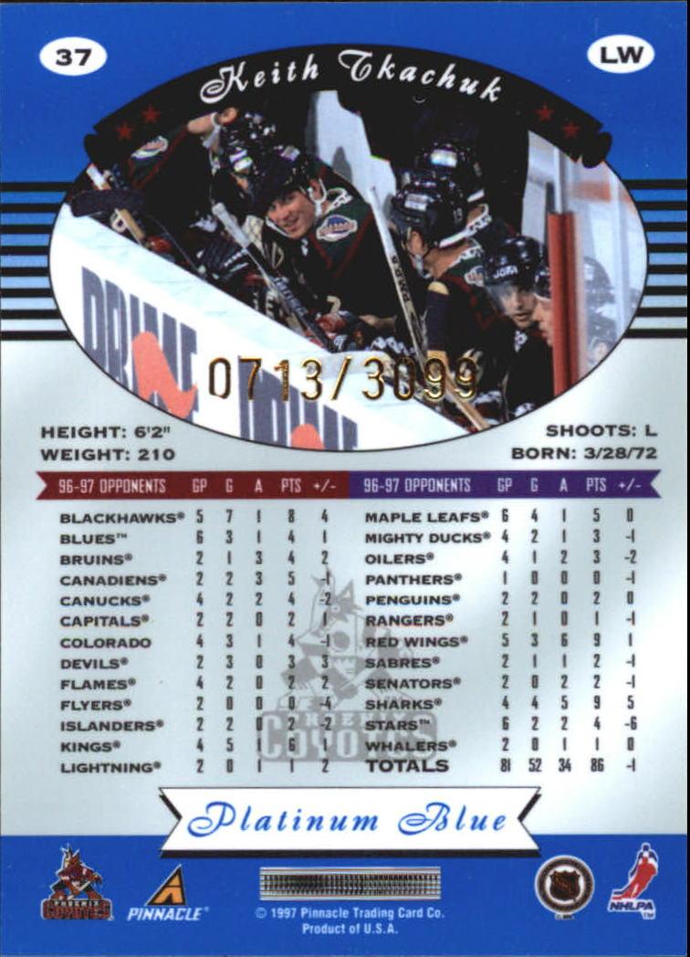 1997-98 Pinnacle Totally Certified Platinum Blue #37 Keith Tkachuk back image