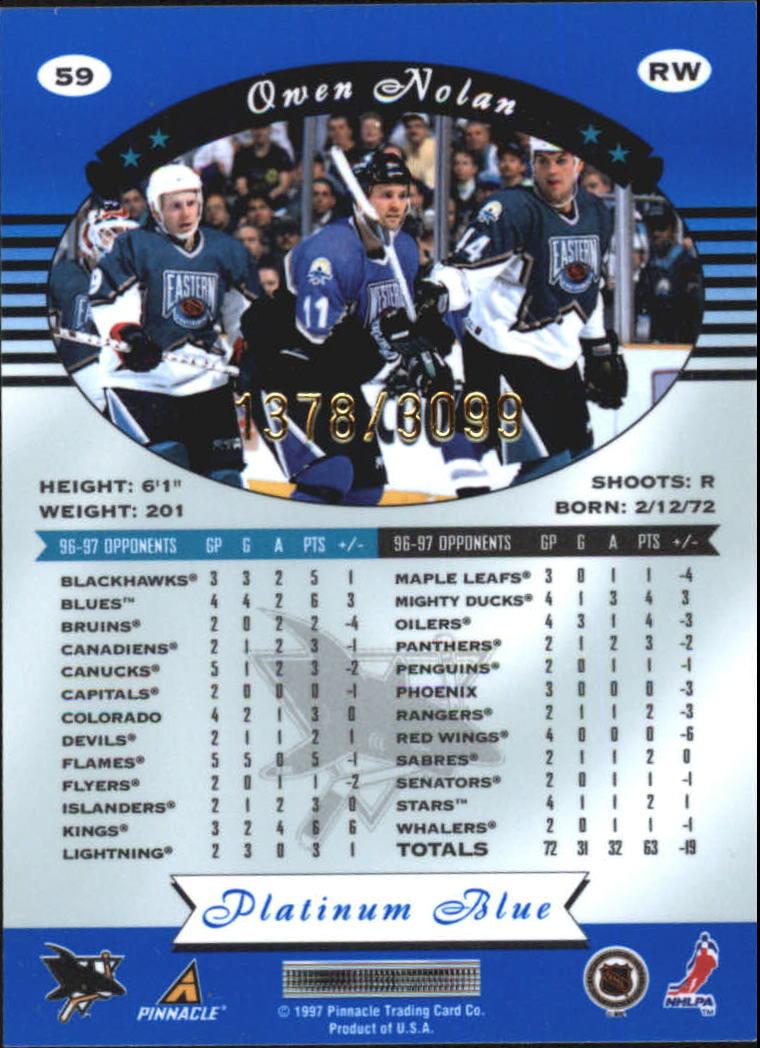 1997-98 Pinnacle Totally Certified Platinum Blue #59 Owen Nolan back image