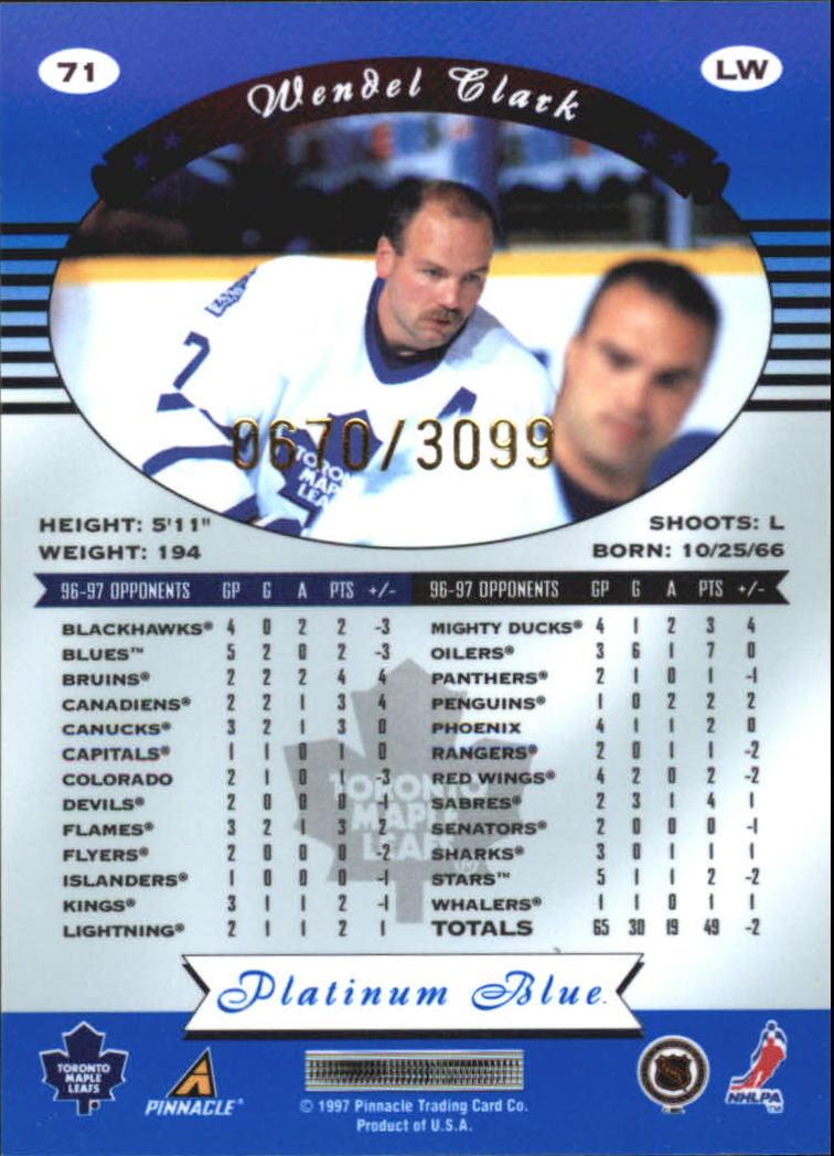 1997-98 Pinnacle Totally Certified Platinum Blue #71 Wendel Clark back image