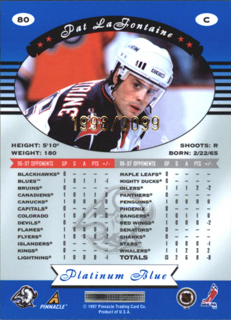 1997-98 Pinnacle Totally Certified Platinum Blue #80 Pat Lafontaine back image