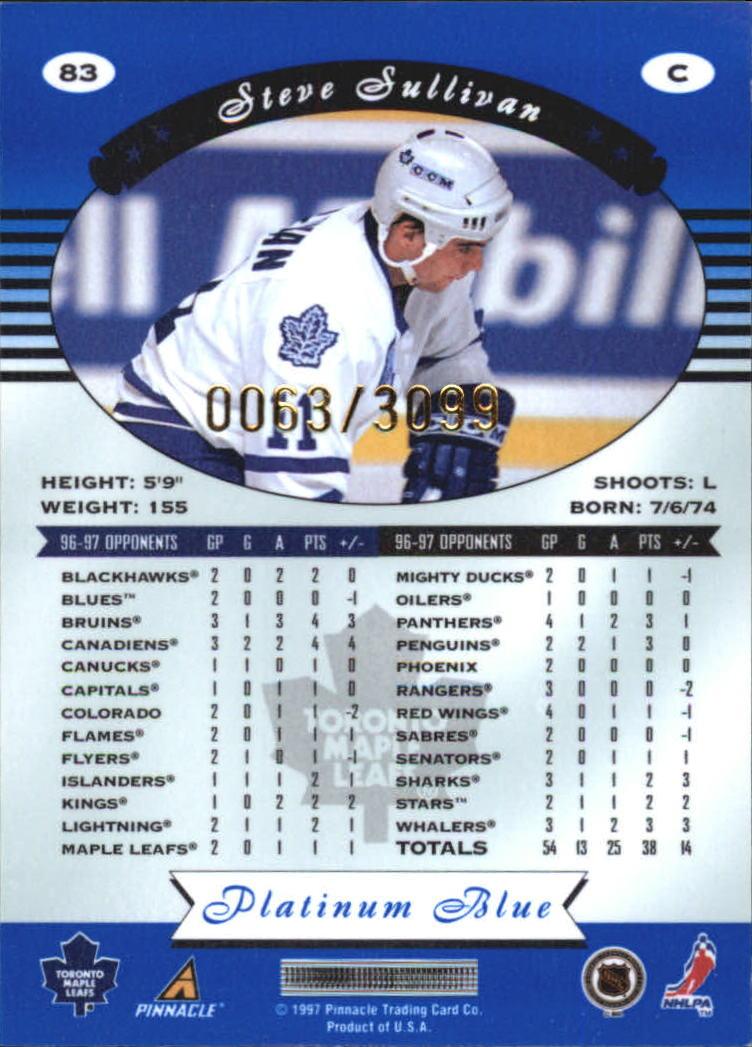 1997-98 Pinnacle Totally Certified Platinum Blue #83 Steve Sullivan back image