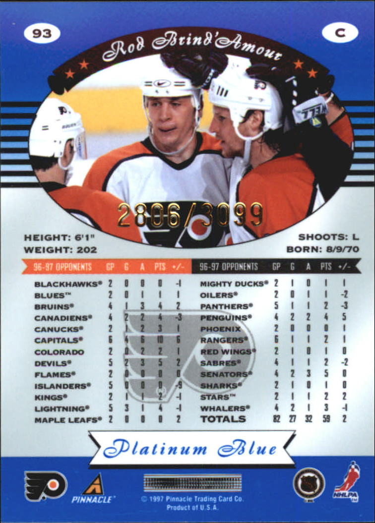 1997-98 Pinnacle Totally Certified Platinum Blue #93 Rod Brind'Amour back image