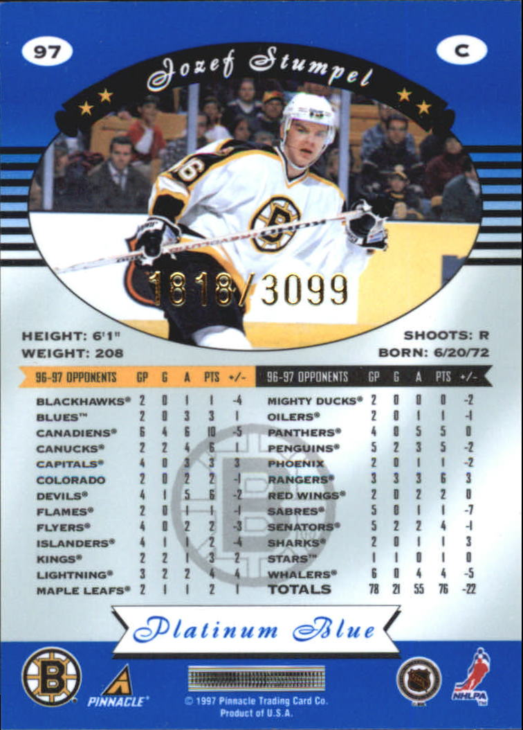 1997-98 Pinnacle Totally Certified Platinum Blue #97 Jozef Stumpel back image