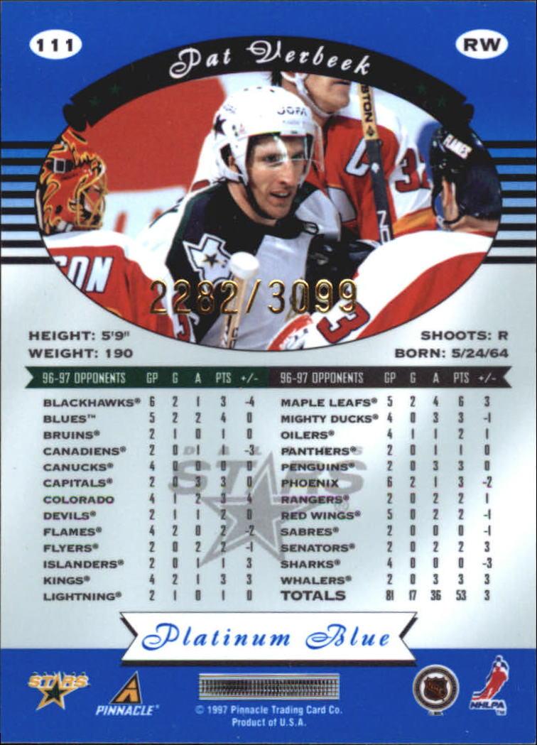 1997-98 Pinnacle Totally Certified Platinum Blue #111 Pat Verbeek back image
