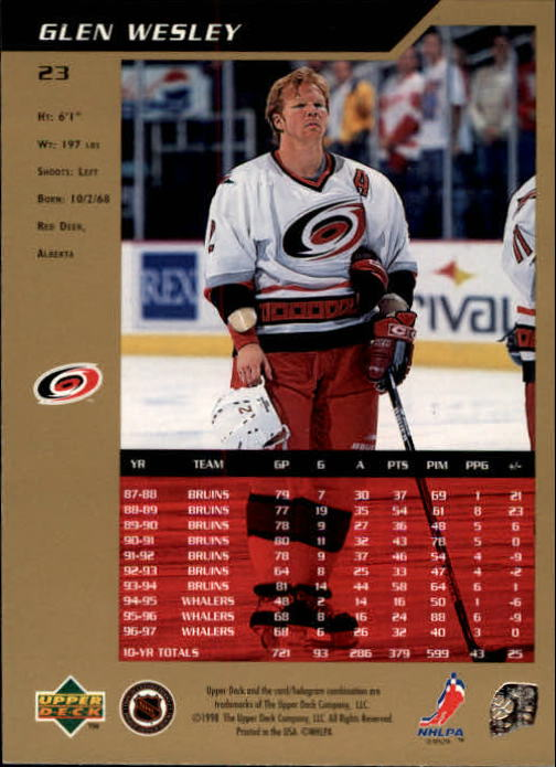 1997-98 SP Authentic #23 Glen Wesley back image