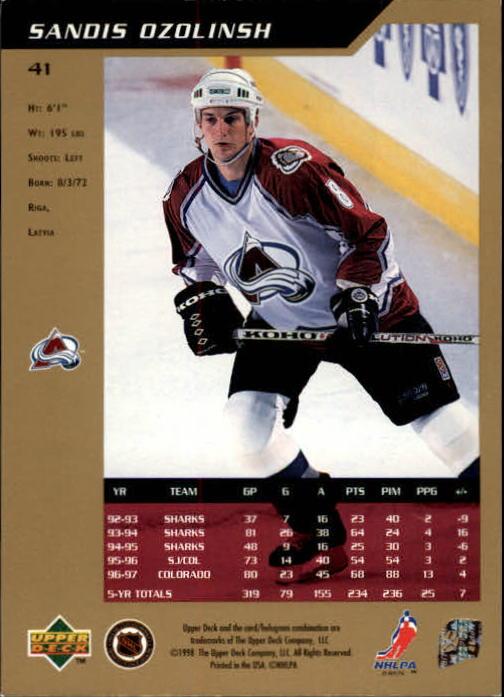 1997-98 SP Authentic #41 Sandis Ozolinsh back image
