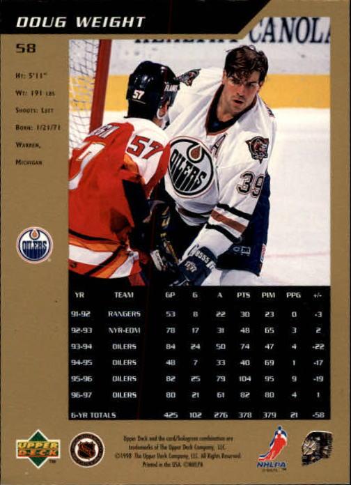 1997-98 SP Authentic #58 Doug Weight back image