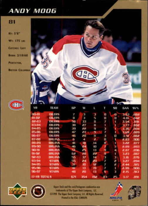 1997-98 SP Authentic #81 Andy Moog back image