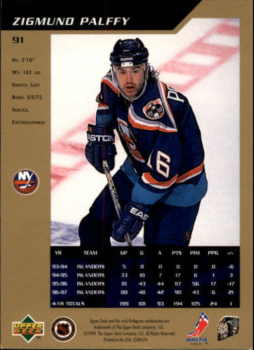 1997-98 SP Authentic #91 Zigmund Palffy back image