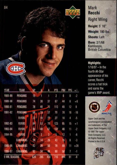 1997-98 Upper Deck #84 Mark Recchi back image