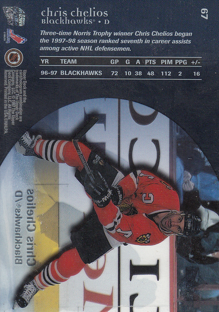 1997-98 Upper Deck Ice #67 Chris Chelios back image