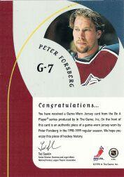 1998-99 Be A Player Playoff Game Used Jerseys #G7 Peter Forsberg back image