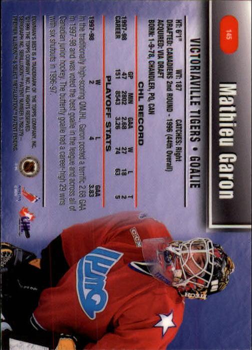 1998-99 Bowman's Best #145 Mathieu Garon SP back image