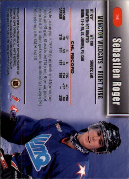 1998-99 Bowman's Best #148 Sebastien Roger SP RC back image