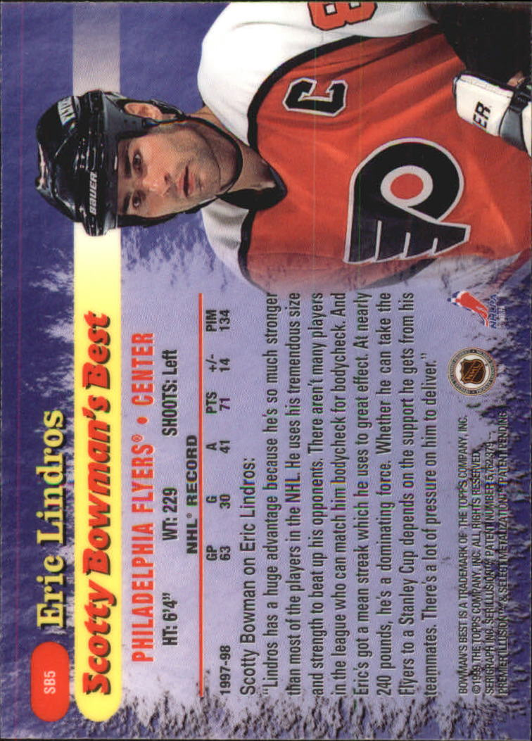 1998-99 Bowman's Best Scotty Bowman's Best #SB5 Eric Lindros back image