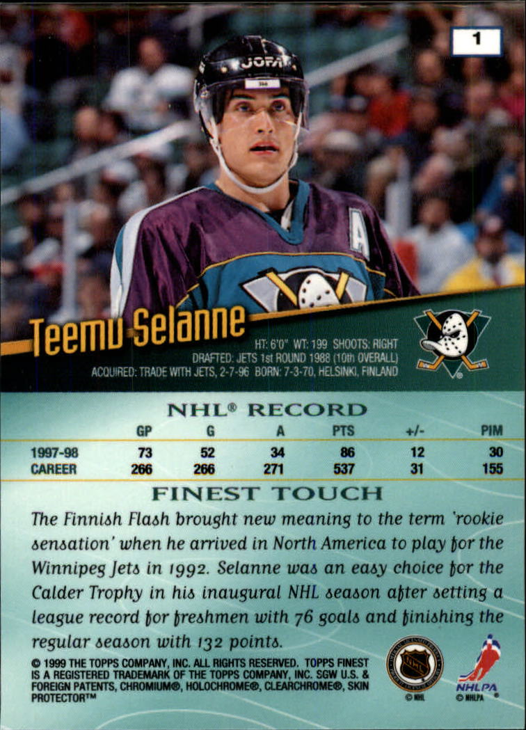 1998-99 Finest #1 Teemu Selanne back image