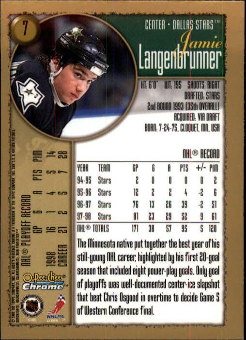 1998-99 O-Pee-Chee Chrome #7 Jamie Langenbrunner back image