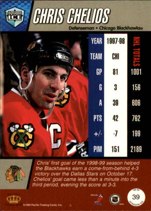 1998-99 Pacific Dynagon Ice #39 Chris Chelios back image