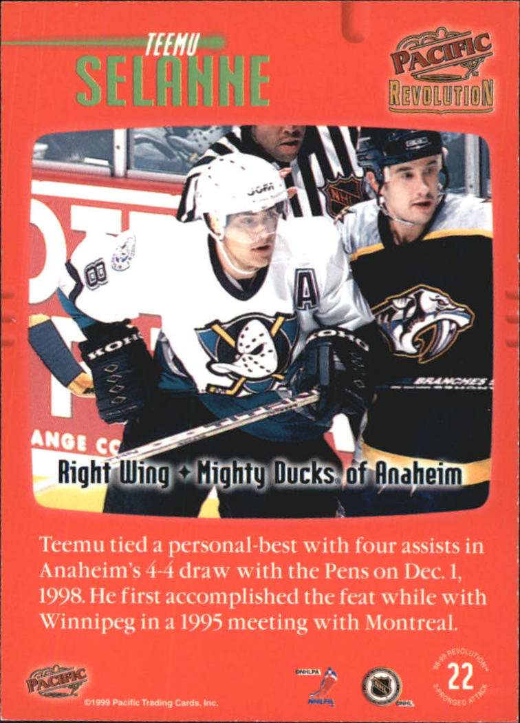 1998-99 Revolution Three Pronged Attack #22 Teemu Selanne back image