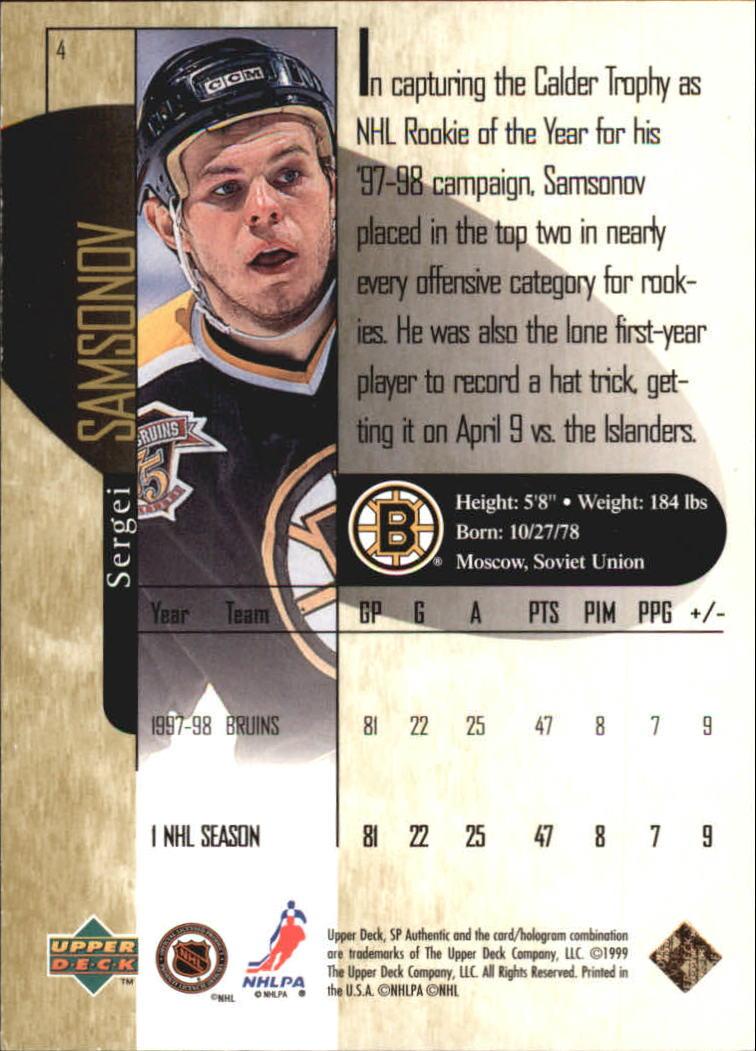1998-99 SP Authentic Power Shift #4 Sergei Samsonov back image