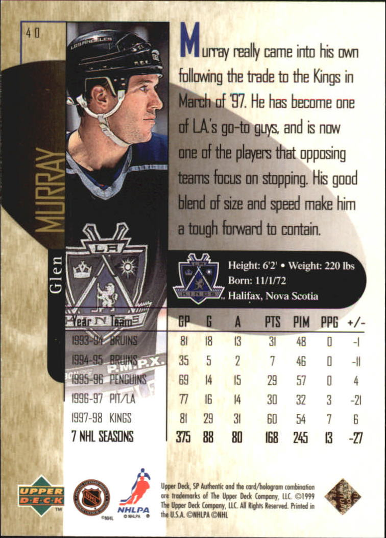 1998-99 SP Authentic Power Shift #40 Glen Murray back image