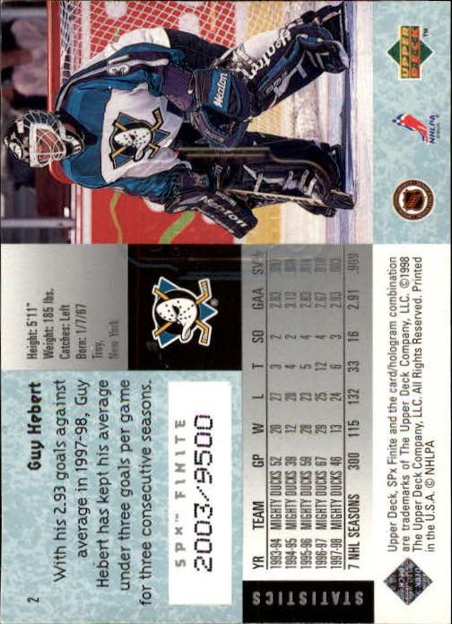 1998-99 SPx Finite #2 Guy Hebert back image