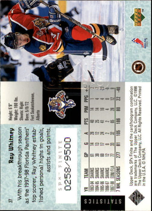 1998-99 SPx Finite #37 Ray Whitney back image