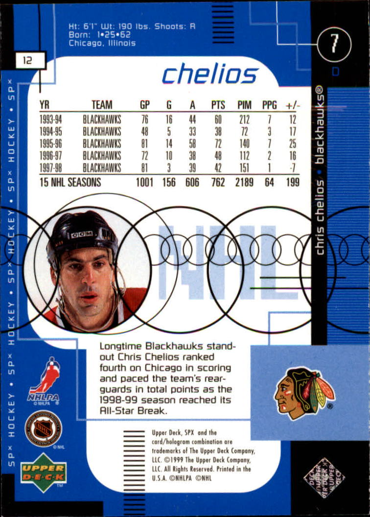 1998-99 SPx Top Prospects #12 Chris Chelios back image