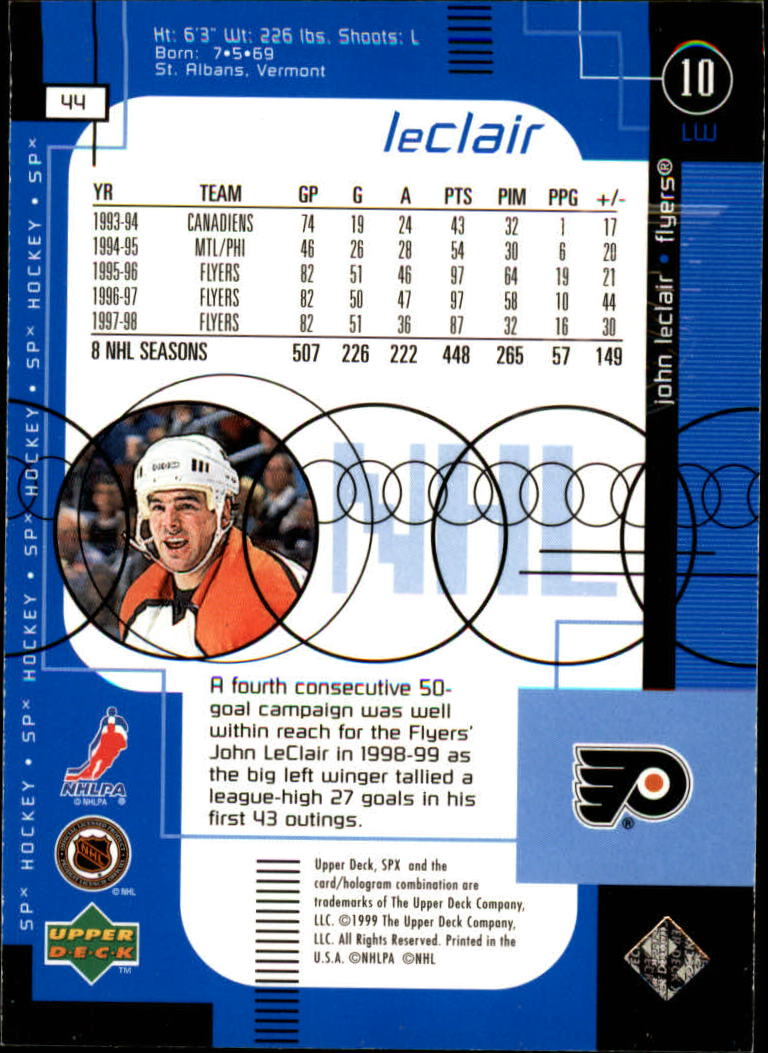 1998-99 SPx Top Prospects #44 John LeClair back image