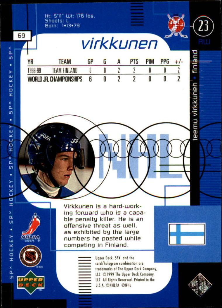 1998-99 SPx Top Prospects #69 Teemu Virkkunen RC back image