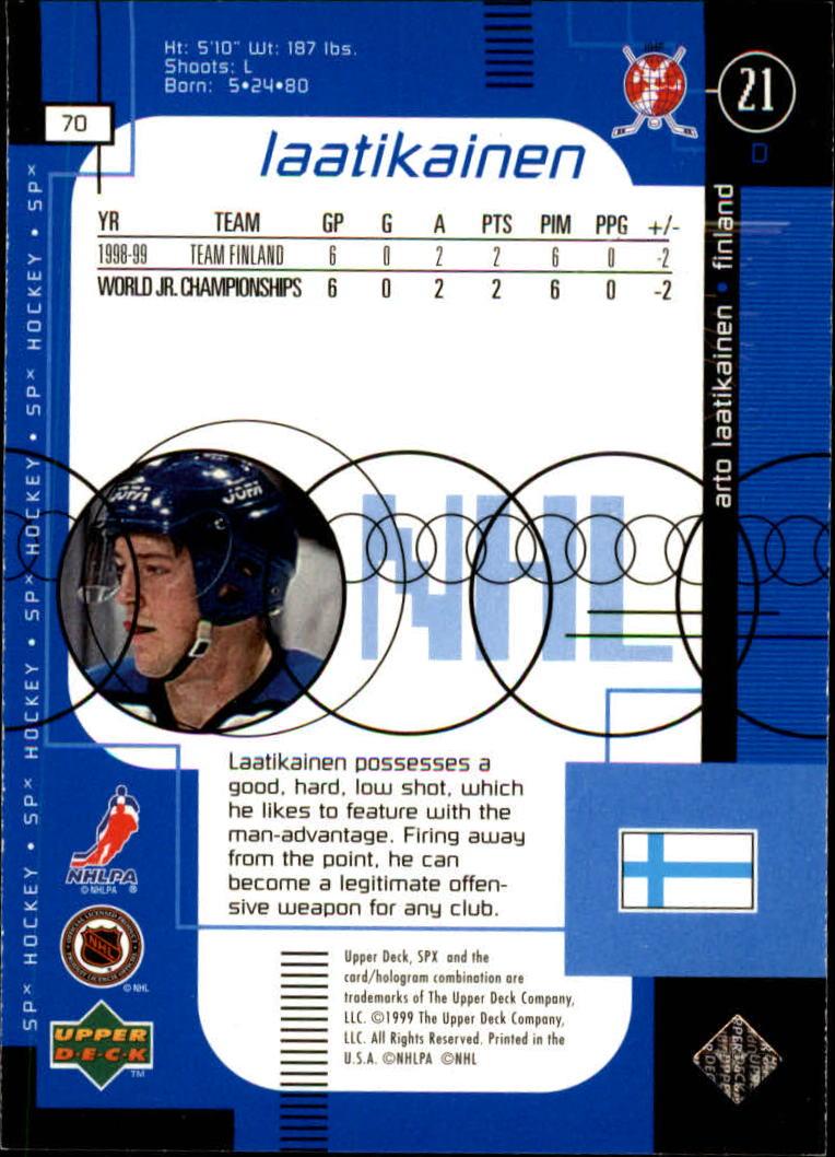 1998-99 SPx Top Prospects #70 Arto Laaktikainen RC back image
