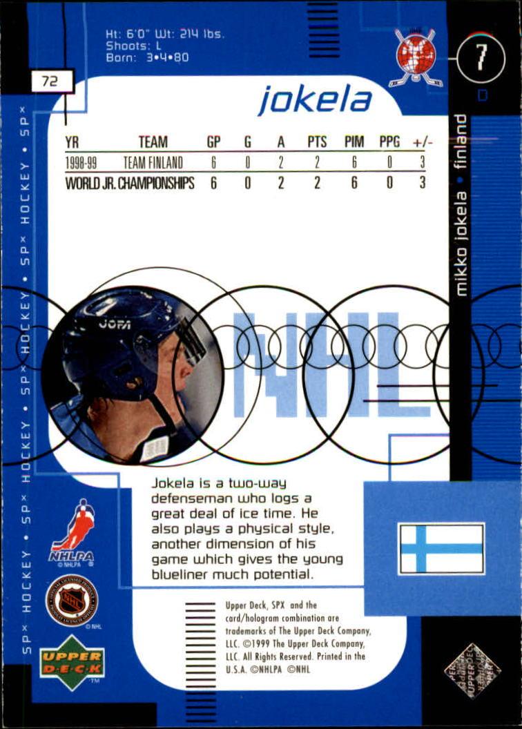 1998-99 SPx Top Prospects #72 Miko Jokela RC back image