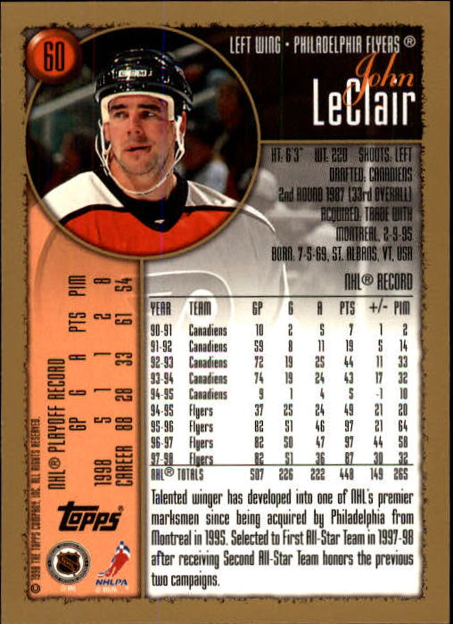 1998-99 Topps #60 John LeClair back image