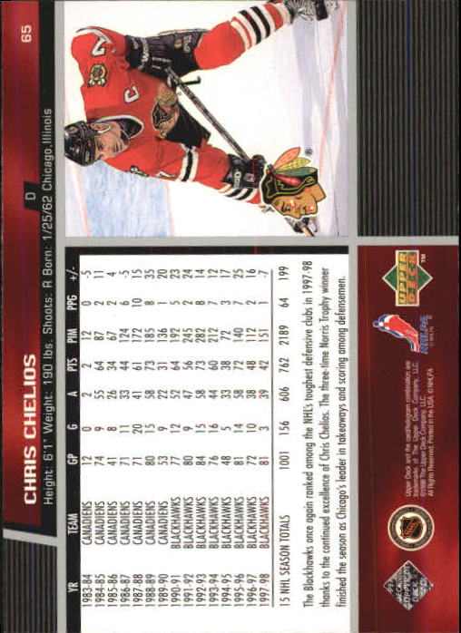 1998-99 Upper Deck #65 Chris Chelios back image