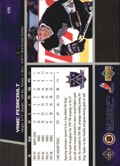 1998-99 Upper Deck #105 Yanic Perreault back image