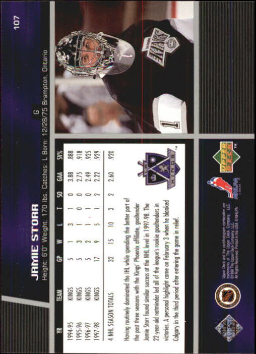 1998-99 Upper Deck #107 Jamie Storr back image