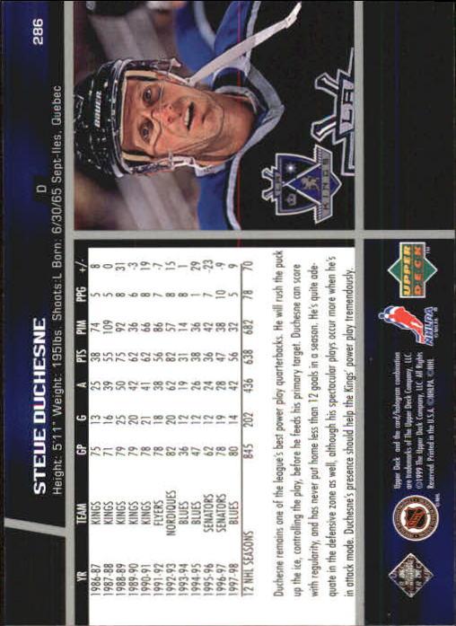 1998-99 Upper Deck #286 Steve Duchesne back image